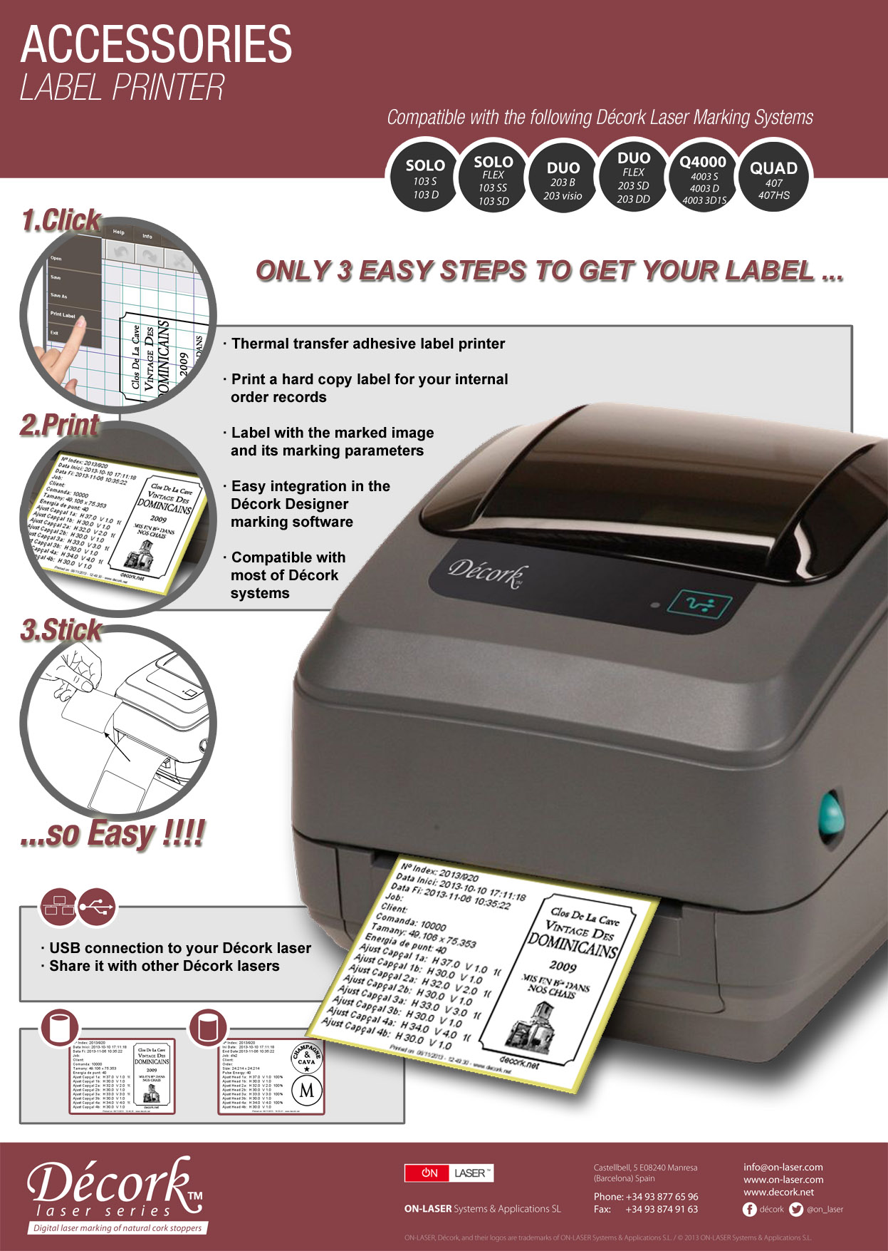 Décork Thermal Transfer Label Printer